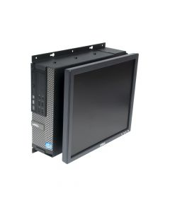 Front view - Dell 790 SFF Fixed Wall Mount - shown with PC & monitor