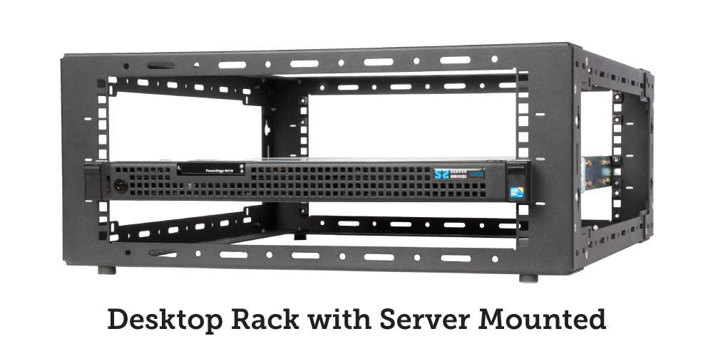 Desktop rack with server mounted