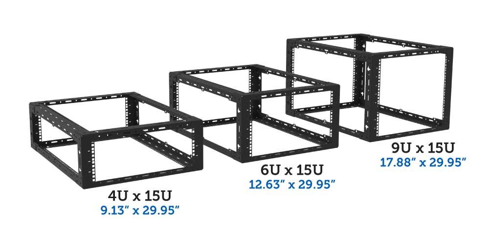 4U, 6U, 9U x 15U desktop rack