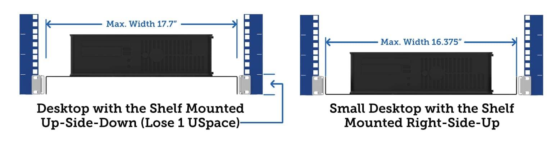 Sliding Computer Shelves Mount Right Side Up or Up Side Down